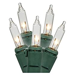 Holiday Essence 100 Clear White Christmas Lights with Green...