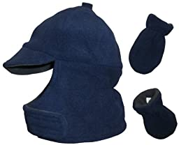N\'ice Caps Boys Wrap Around Fleece Jockey Hat and Mitten Set (12-24 months, navy/charcoal grey)
