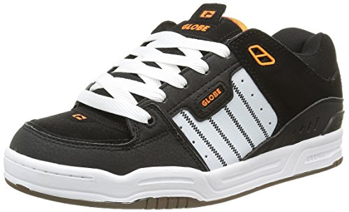 Globe Fusion, Sneaker uomo Nero Schwarz (Black/White/Orange) 44.5