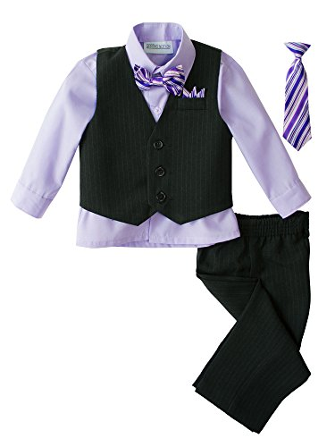 Spring Notion Baby Boys' 5 Piece Pinstriped Vest Set Lilac 12 Months