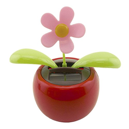 Adorox Solar Powered Dancing Flower Bobble Plant Rocking Swing Pot Desk Toy Fun (Pink Daisy Red Pot (1 Pot))