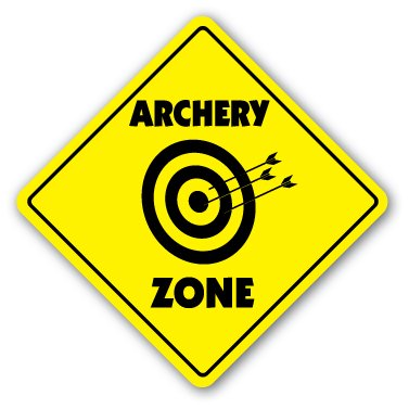 ARCHERY ZONE Sign caution xing bow arrow target gift