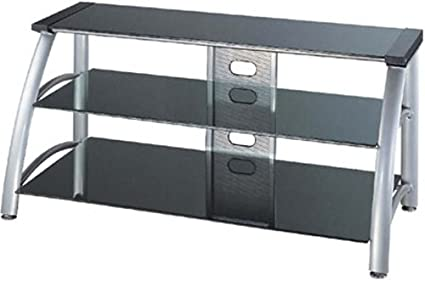 Lite Source LSH-5607 Arch 3-Tier TV Stand, Aluminum Metal Frame with Black Tempered Glass Shelves