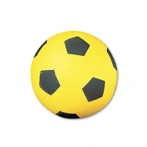 Champion Sports Products - Champion Sports - Soccer Ball, Coated Foam, 12 oz., Yellow/Black - Sold As 1 Each - Fun and safe for indoor or outdoor play. - Allows play on all surfaces. - Ball is water-resistant.
