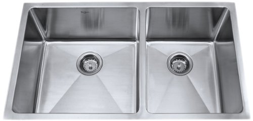 Find Discount Kraus 33 inch Undermount 60/40 Double Bowl 16 gauge Stainless Steel Kitchen Sink