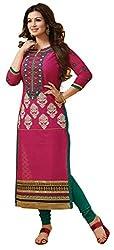 Limemode Women's Cotton Semi Stitched Dress Material (WASS000072_Pink_Free...
