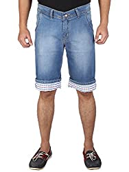 WineGlass Cotton Stretch Denims 3/4 Shorts for Mens 282ST(Size:- 30)