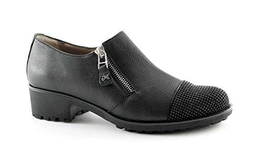MELLUSO R0920 nero scarpe donna tacco cerniera laterale strass puntale 39
