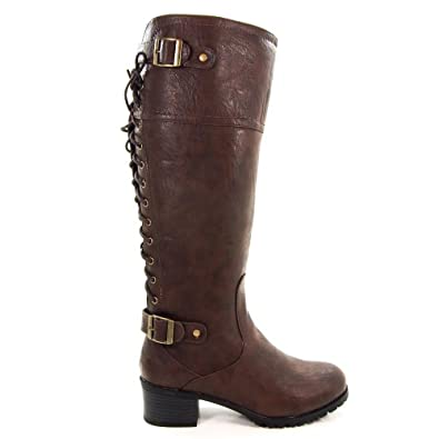 Lace up back buckle accents women s riding boot new shoes 7 5 shoes