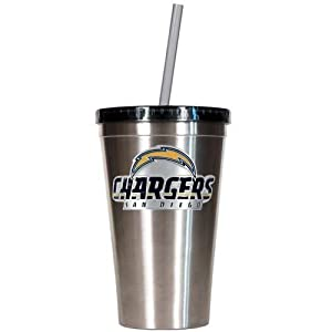 NFL San Diego Chargers 16-Ounce Stainless Steel Insulated Tumbler with Straw by Great American Products