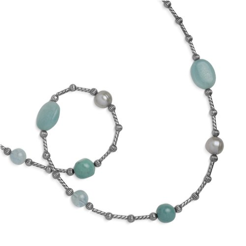 Southwest Spirit Sterling Silver Shades of Aqua Beaded Station Necklace - 22.75