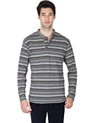 Hypernation Grey And Black Color Stripped Long Sleeves Henely Neck T-Shirts For Men