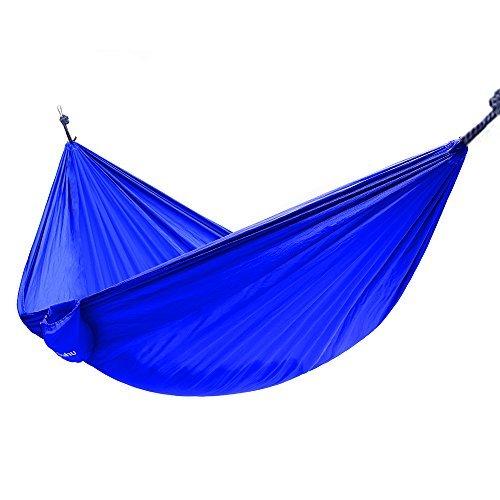 "Ohuhu Portable Nylon Fabric Travel Camping Hammock, 115"" Long X 55"" Wide, 600-Pound Capacity, Blue"