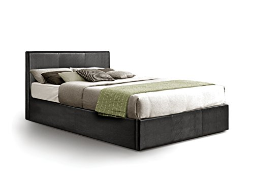 Ottoman Double Storage Bed Upholstered in Faux Leather, 4ft 6, Black
