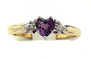 0.10ct H/SI1 Round Brilliant & Heart Shaped Amethyst & Diamond ClusterRing set in 9ct yellow and white gold.Size- N