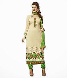 Cream Color Cotton Unstitched Salwar Kameez Embroidered Dress Material