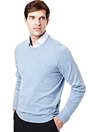 "2"" Longer Collezione Cotton Rich Crew Neck Jumper with Cashmere"