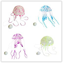 Viskey Large Size Luminous Artificial Jellyfish for Aquarium Fish Tank Ornament Pack of 4