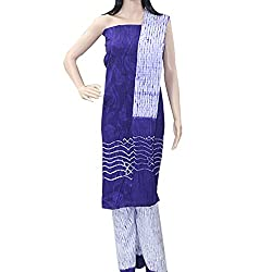 APKAMART Women Cotton Tie and Dye or Rajasthani Bandhej Blue and White - Unstitched Dress Material - 2.2 Meters