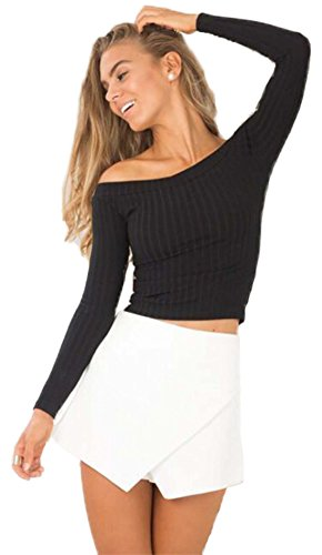 DREAGAL Womens Off Shoulder Long Sleeve Ribbed Top Black Small