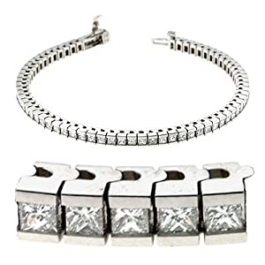 14k White Gold 4.50 Dwt Diamond Princess Cut Bracelet - JewelryWeb
