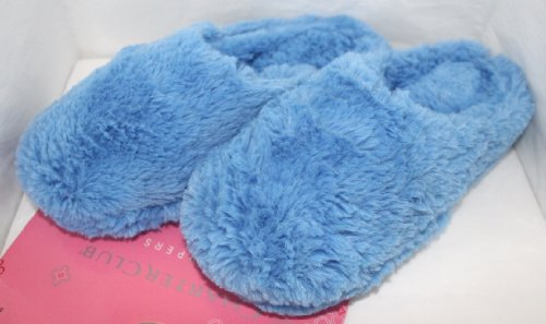 Cheap Charter Club Slippers Scuffs Fuzzy Blue Rubber Sole Womens S 5/6 (B004M3X166)