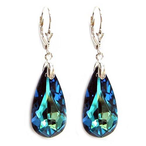 Queenberry - Orecchini a goccia con elementi in cristallo Swarovski, in argento Sterling 925, con chiusura a monachella, colore: blu bermuda