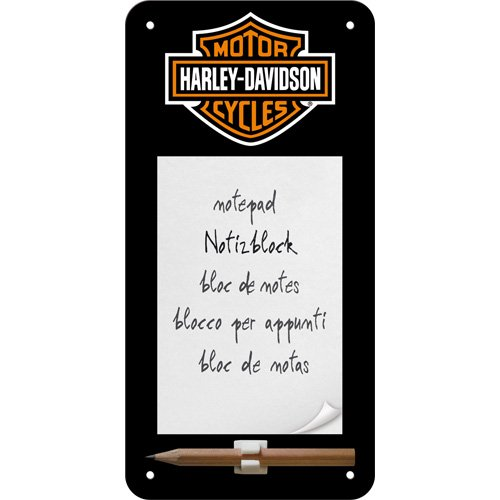 nostalgic-art-84020-harley-davidson-logo-notizblock-schild-10-x-20-cm