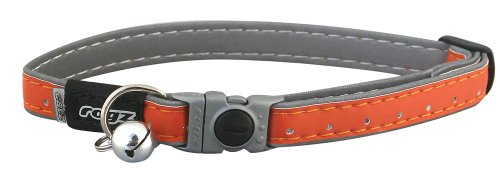 Reflective Adjustable Cat Collar with Safeloc Breakaway Clip - Orange, Small