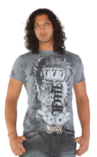 Red Chapter Mens Luck Fate Ambigram Gray T Shirt Size: XL