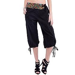 TUNTUK Women's Short Chandra Pants Black Cotton Capri