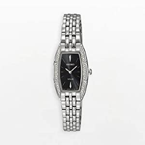 Seiko Women's SUP149 Stainless Steel Analog Black Dial Watch