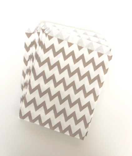 Wedding Candy Buffet Bags, Silver Chevron (25 Pack) - Perfect For Guests To Take Candies Or Cupcakes At Receptions & Showers front-21361