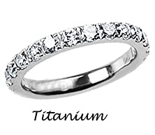 buy Titanium And Simulated Diamond Slim Engagement Band 3Mm - Size 7