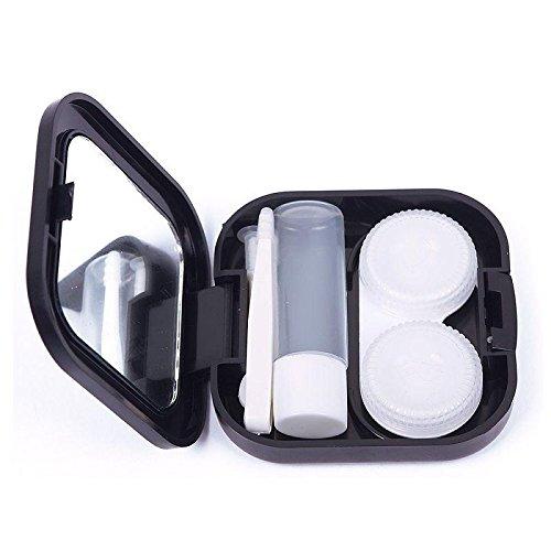 Mini Travel Cute Cartoon Beard Shape Contact Lens Case Box Container Holder Black