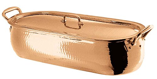 Paderno World Cuisine Copper-Tin Fish Poacher with Copper Lid