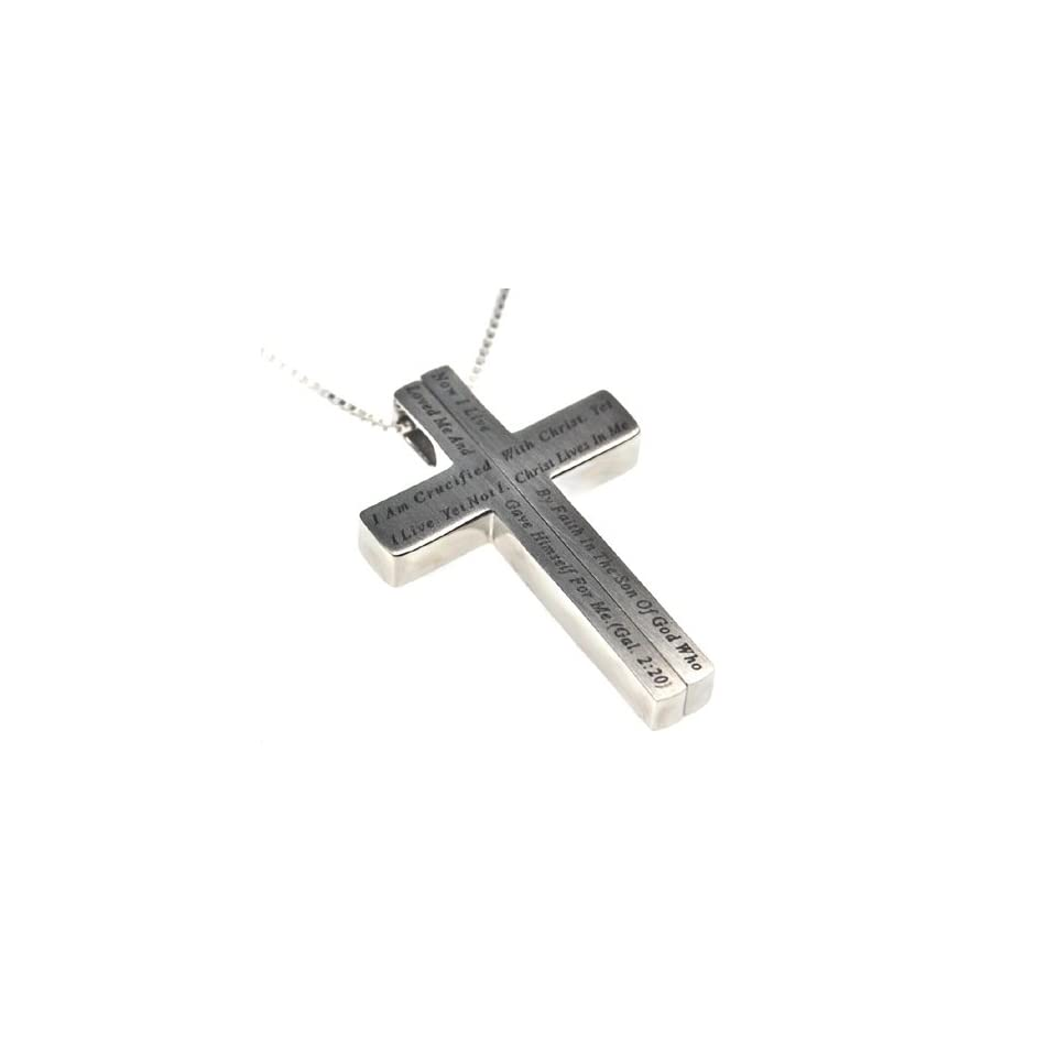 """Christian Womens Stainless Steel Abstinence """"I Am Crucified with Christ. Yet I Live. Yet Not I. Christ Lives in Me. Now I Live By Faith in the Son of God Who Loved Me and Gave His Life for Me. Galatians 220"""" 2 Piece Iron Cross Chastity Necklace"""