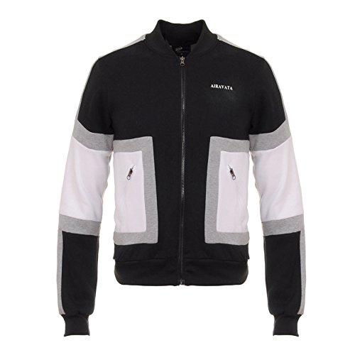 AIRAVATA Uomo Maglione Ragazzo Manica Lunga Solido Colore Splicing Felpa Con Cappuccio Zipper Completa Abbigliamento Sportivo