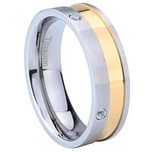 7MM Titanium 14K Gold IP Two Tone Men's Wedding Band Ring Size Z 1/2
