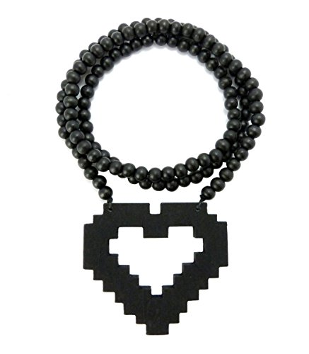 "Pixelated Heart Wood Pendant 36"" Wooden Bead Chain Necklace in Black-Tone WJ159BK"