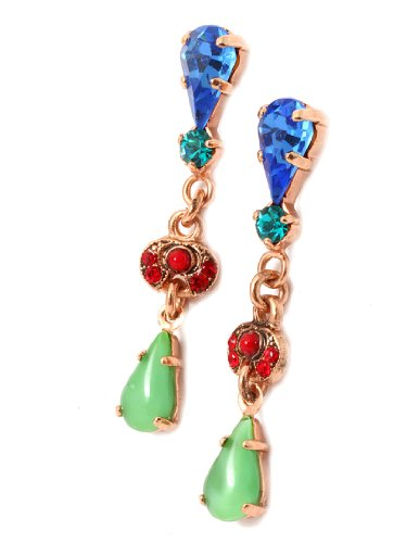 Amaro Jewelry Studio 'Motion' Collection 24K Rose Gold Plated Fascinating Earrings Embellished with Amethyst, Abalone, Cape Amethyst, Jade, Sodalite, Lapis Lazuli, Quartz, Swarovski Crystals and Tear Drops