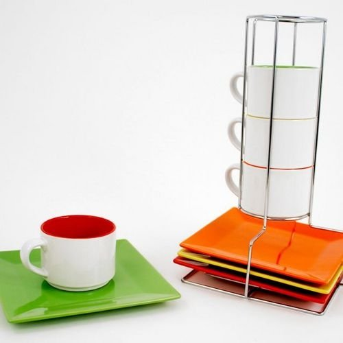 Square Plate & Cup, Set Of 8 With Metal Holder