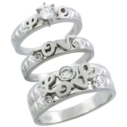 Sterling Silver 3-Piece His 7 mm & Hers 5 mm LOVE Trio Wedding Ring Set CZ Stones Rhodium Finish, Ladies Size 10