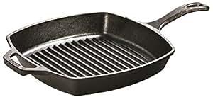 Lodge L8SGP3 Pre-Seasoned Cast-Iron Square Grill Pan, 10.5-inch