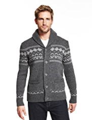 Blue Harbour Lambswool Rich Fair Isle Cardigan