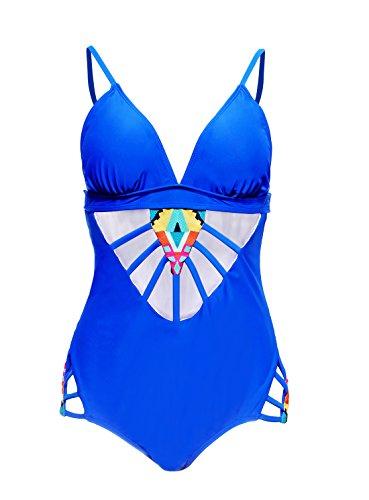 HOTAPEI Women Padded Printed Lattice One Piece Swimsuit XXL Dark Blue