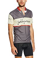 JOLLYWEAR Maillot Ciclismo Vintage (Gris / Rojo)