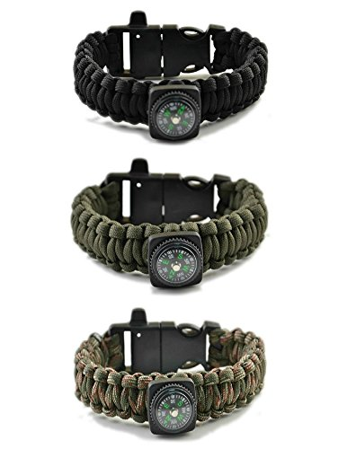 Paracord Bracelet 5-in-1 Mil-Spec 550 Outdoor Flint Firesteel with Striker Blade-Scraper Compass and Whistle, 7-strand unravels to 13-ft (90+ ft)