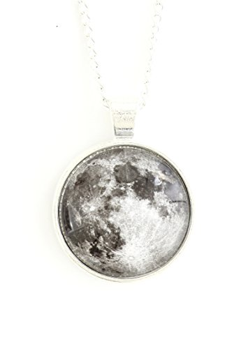 The Moon Necklace Silver Tone Outer Space Lunar Photo Pendant Np44 Fashion Jewelry