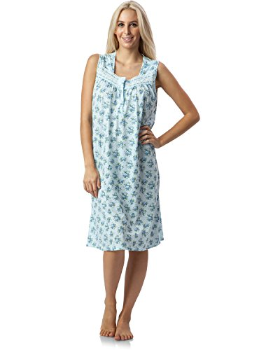 Casual Nights Women's Lace Trim Sleeveless Nightgown - Floral/Blue - 2X